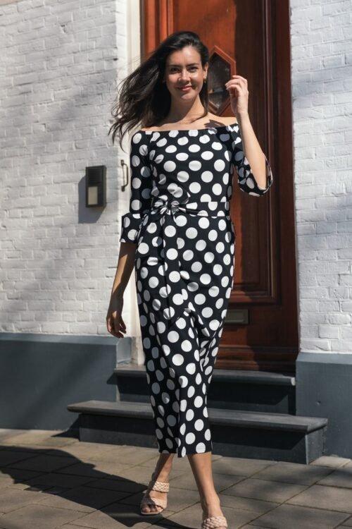 STUDIO ANNELOES SATURDAY BIG DOT DRESS BLACK WHITE